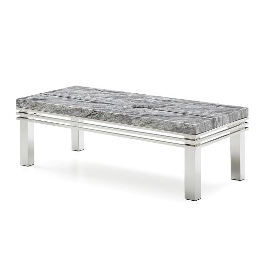 View Cotswold marble top coffee table in grey with steel legs