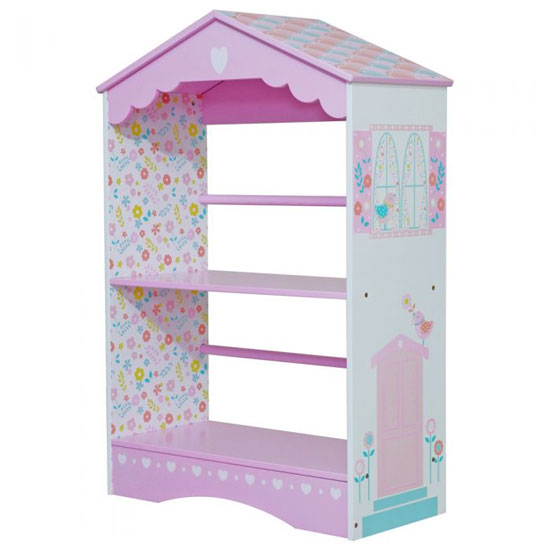 View Country cottage kids bookcase in pink and white