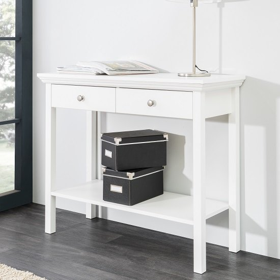 View Country console table in white with 2 drawers