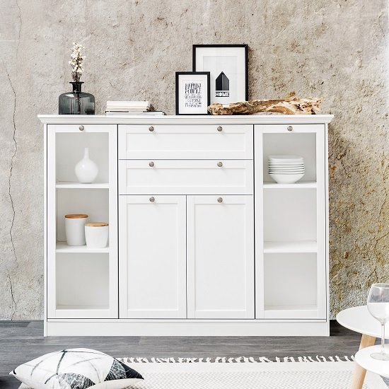 View Country glass highboard in white with 4 doors