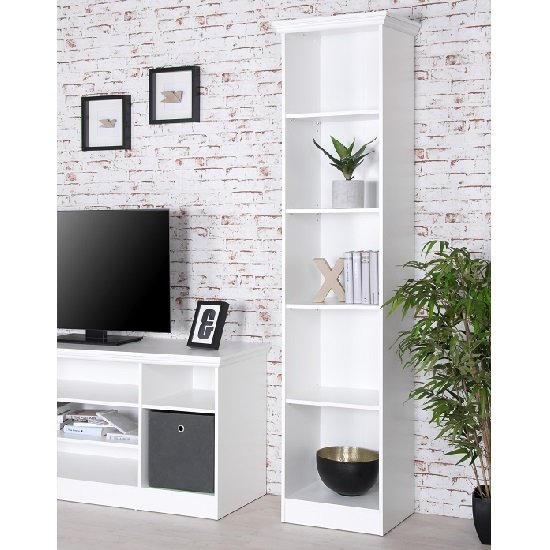 View Country tall narrow bookcase in white with 5 compartments