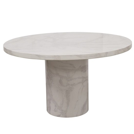 View Cupric marble coffee table round in bone white gloss finish