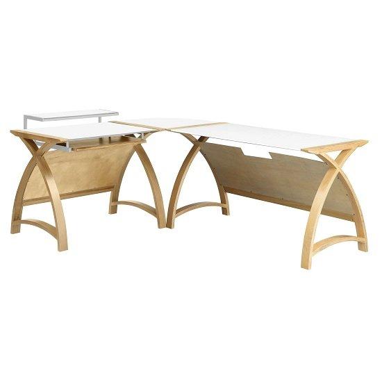 View Modular real oak wood curve corner computer desk