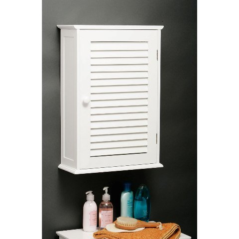 View Custom wooden bathroom wall cabinet in white with 1 door