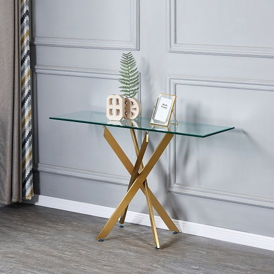 View Daytona clear glass console table with brushed gold legs