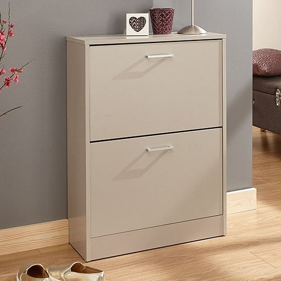 View Denny two tier shoe cabinet in grey finish