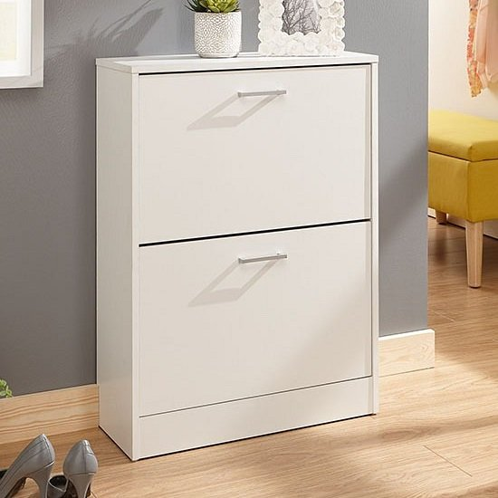 View Denny two tier shoe cabinet in white finish