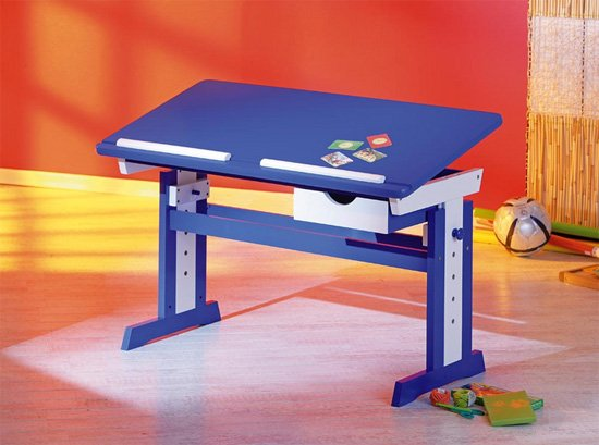 View Paco childrens computer desk in blue wood