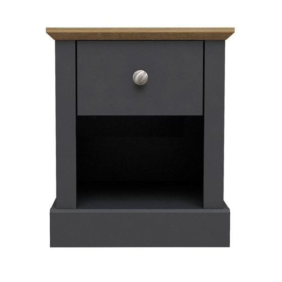 View Devon wooden lamp table in charcoal with 1 drawer