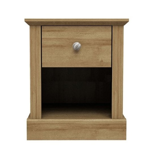 View Devon wooden lamp table in oak with 1 drawer