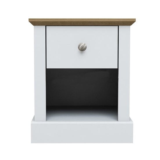 View Devon wooden lamp table in white with 1 drawer