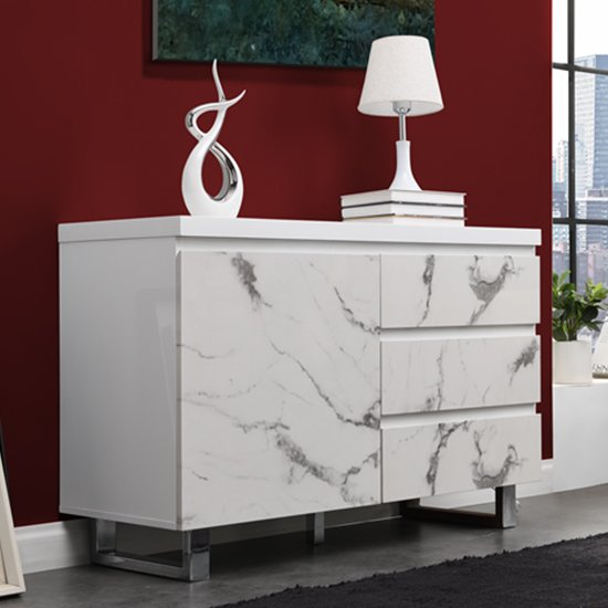View Diva small white gloss sideboard with 3 drawers and 1 door