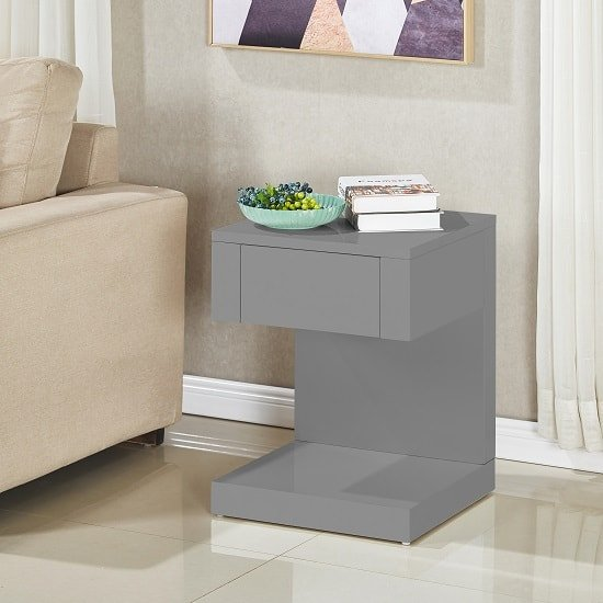 View Dixon bedside table in grey high gloss with 1 drawer