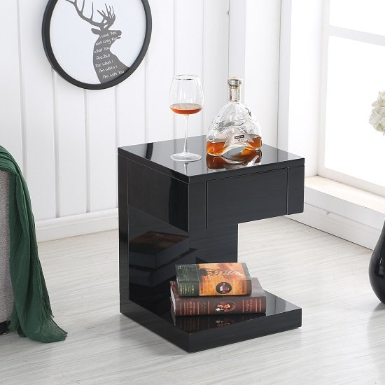 View Dixon bedside table in black high gloss with 1 drawer