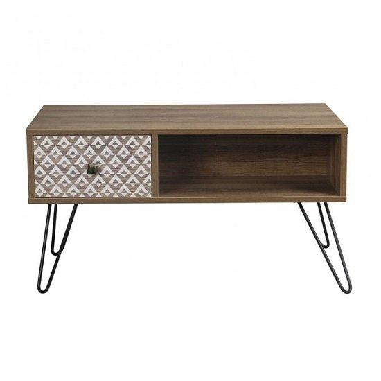 View Draco coffee table in wooden effect with black wired legs