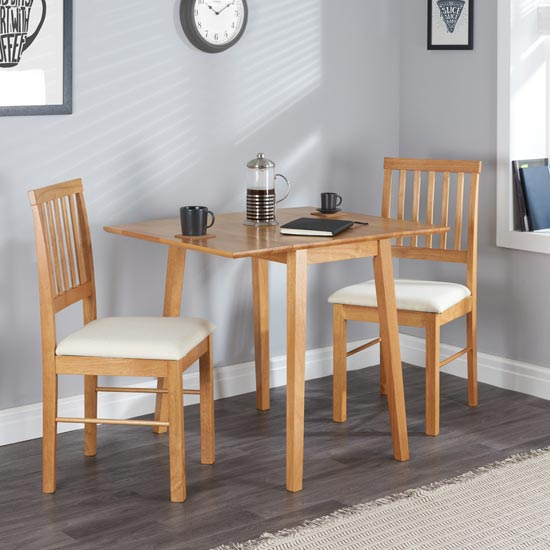 View Drop leaf wooden dining set in oak with 2 chairs