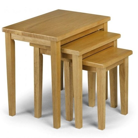 View Duchess wooden nest of 3 tables square in light oak