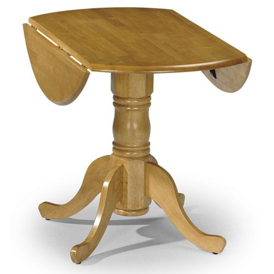 View Dundee drop-leaf round dining table in lacquered honey