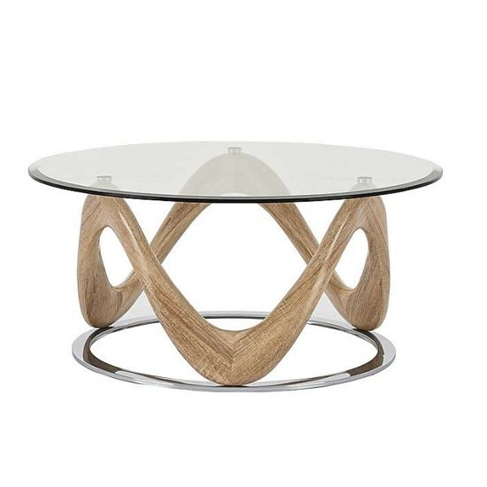 View Dunic glass coffee table round in sonoma oak and chrome