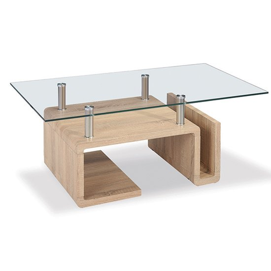 View Edith glass coffee table with natural