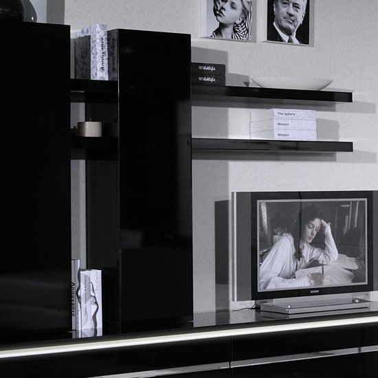 View Elisa wall mounted display unit in black lacquer with shelves