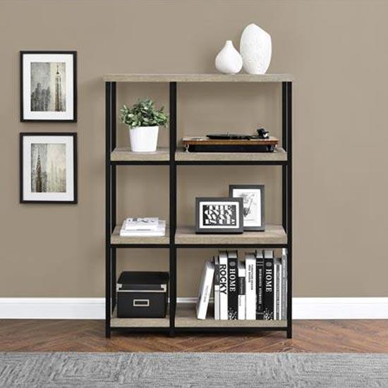 View Elmwood wooden bookcase in distressed grey oak