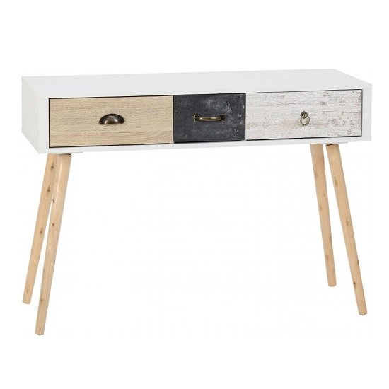 View Elston console table in white and distressed effect