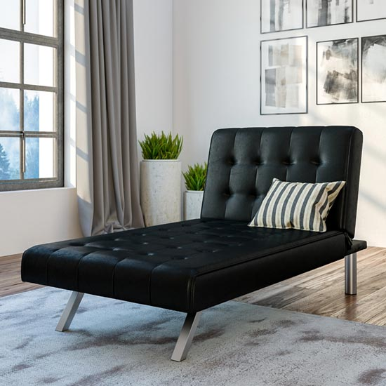 View Emily faux leather chaise single sofa bed in black