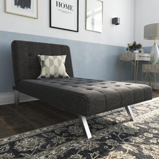 View Emily faux leather chaise single sofa bed in linen grey