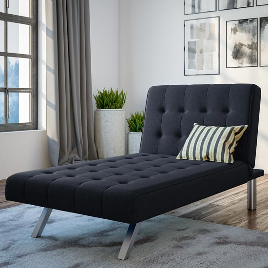 View Emily faux leather chaise single sofa bed in navy linen blue