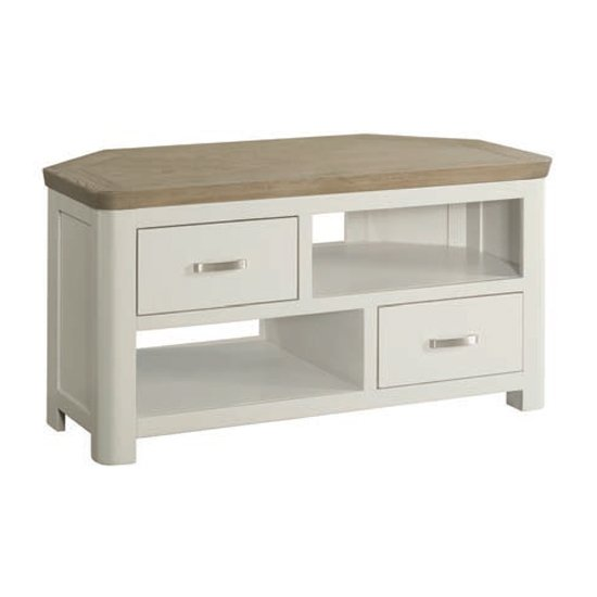 View Empire stone painted corner tv unit with 2 drawers