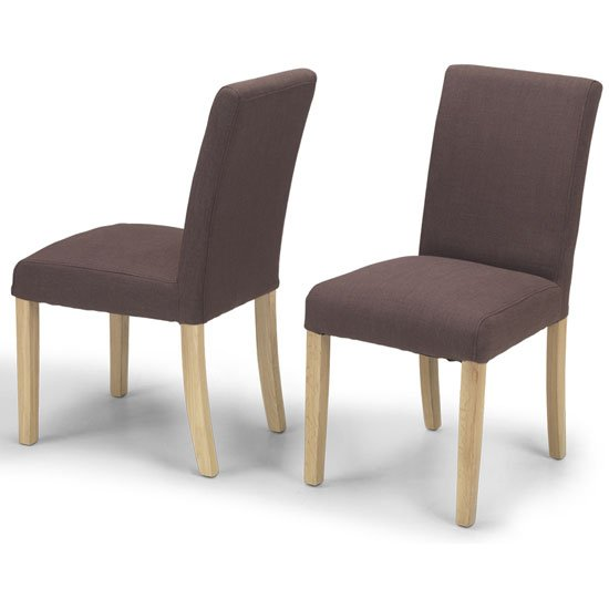 View Epsom brown fabric dining chairs in a pair with natural legs