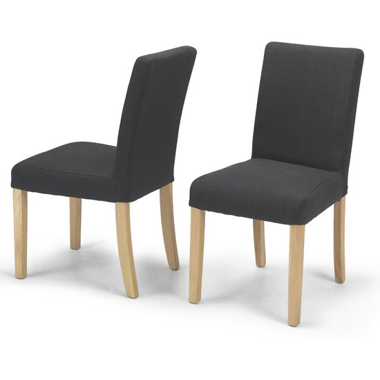 View Epsom dark grey fabric dining chairs in a pair with natural legs