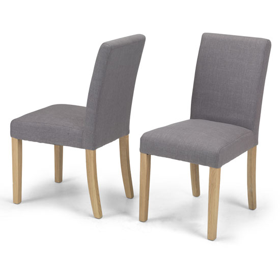 View Epsom grey fabric dining chairs in a pair with natural legs