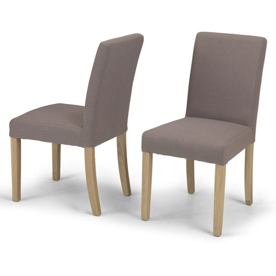 View Epsom mocha fabric dining chairs in a pair with natural legs