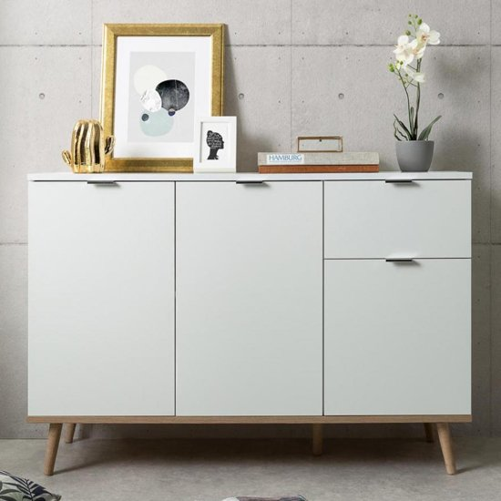 View Eridanus small wooden sideboard in white and sonoma oak