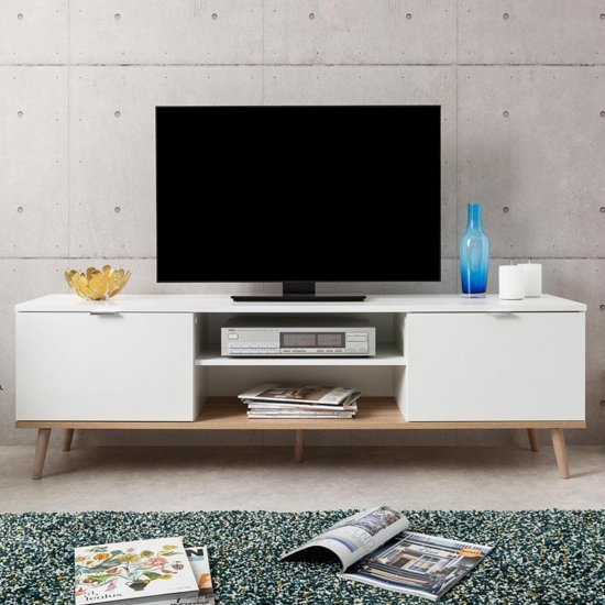View Eridanus wooden tv unit in white and sonoma oak