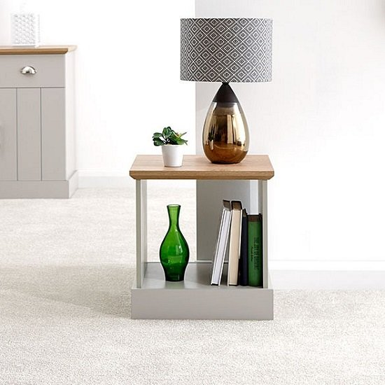 View Ervin wooden lamp table in grey with oak effect top