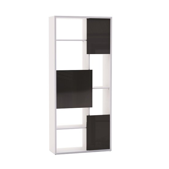 View Fargo bookcase in pearl white with 3 black gloss doors