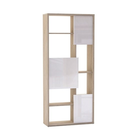 View Fargo bookcase in brushed oak with 3 white gloss doors