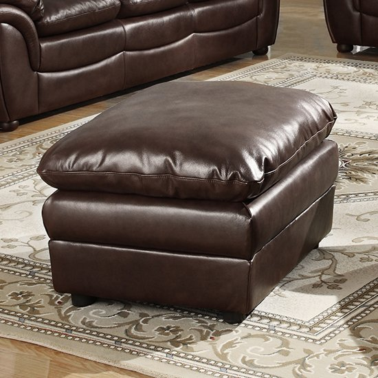 View Fernando full bonded leather sofa stool in brown