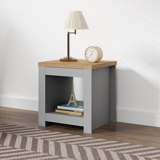 View Fiona wooden lamp table square in grey and oak