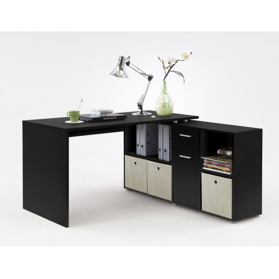 View Flexi modern corner computer desk in black