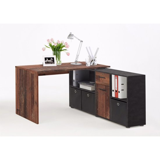 View Flexi modern corner computer desk in old style dark and matera