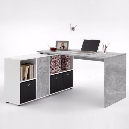 View Flexi modern corner computer desk in atelier and white