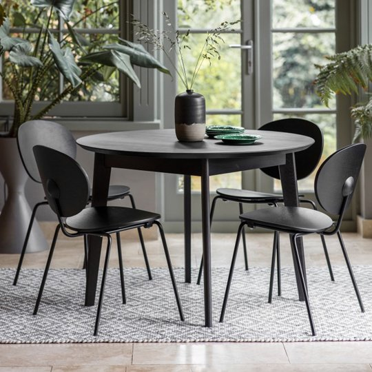 Forden Wooden Round Dining Table In Black 369 95 Go Furniture Co Uk