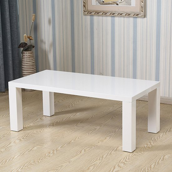 View Foxley wooden coffee table in white high gloss