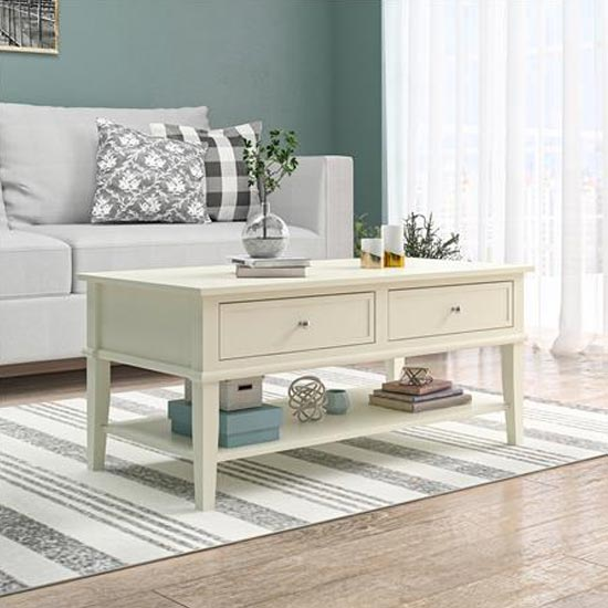 View Franklin wooden coffee table in white
