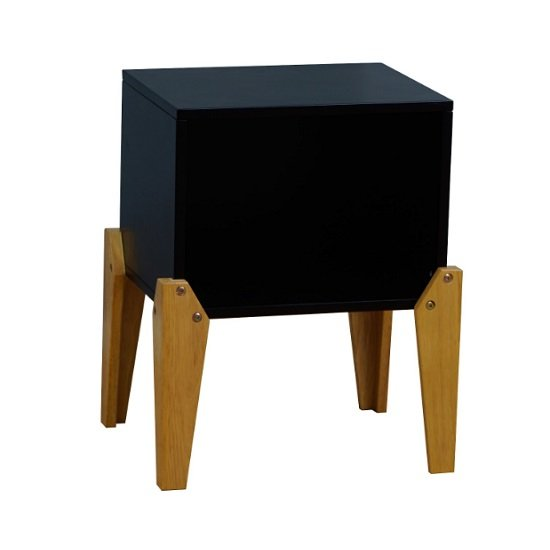 View Fremont contemporary wooden bedside table in black