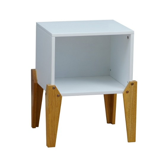 View Fremont contemporary wooden bedside table in white